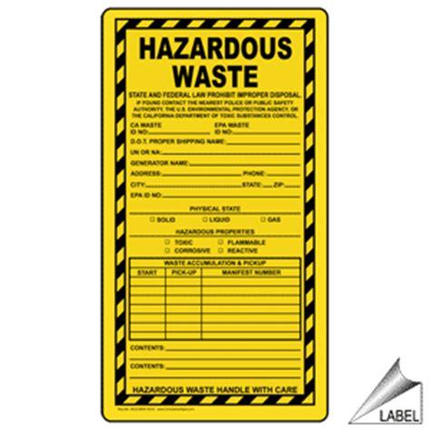 hazardous waste law prohibit improper disposal label