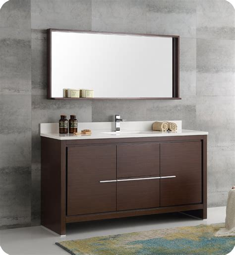 kitchen cabinets with sink fresca fvn8119wg s allier 60 quot wenge brown modern single 6484