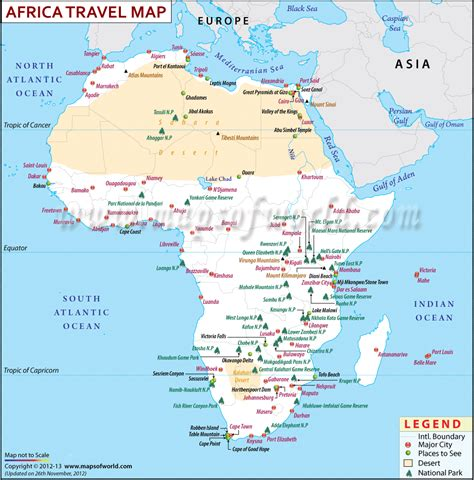 africa travel information map places  visit major cities