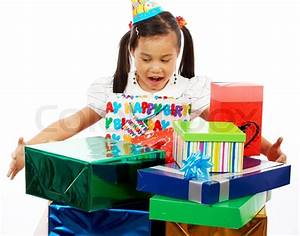 Happy Girl On Her Birthday Excited By Receiving Lots Of ...