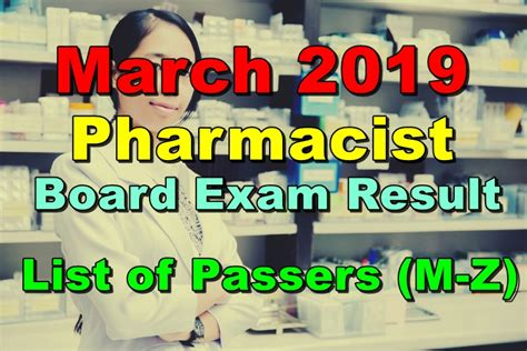 Pharmacy Board by Pharmacist Board Result March 2019 List Of Passers