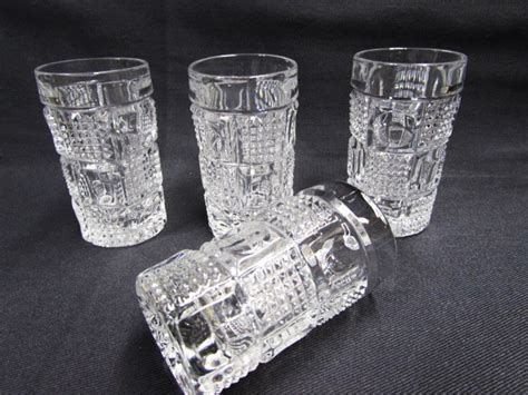 Vintage Cut Crystal Liquors Shot Glasses Art Deco