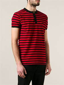 Saint laurent Striped Polo Shirt in Red for Men | Lyst