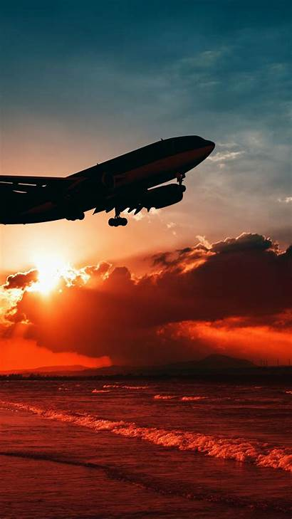 Airplane Sunset Beach Background Mobile Iphone Flying