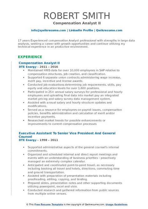Resume Creation Pdf by Compensation Analyst Resume Sles Qwikresume