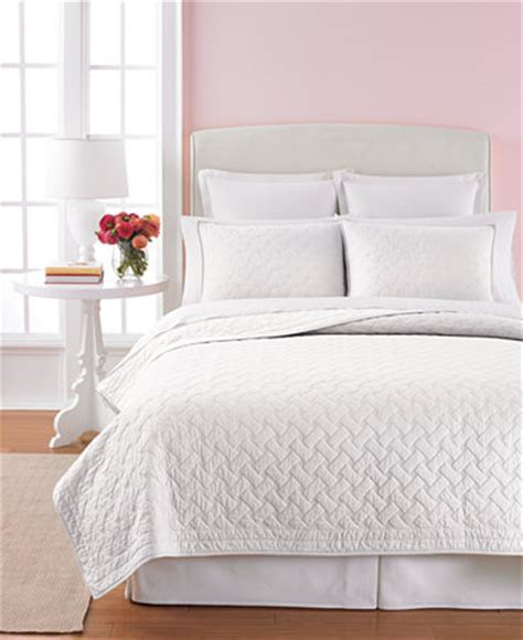 Macys Coverlets by Martha Stewart Collection White Basket Stitch Quilts
