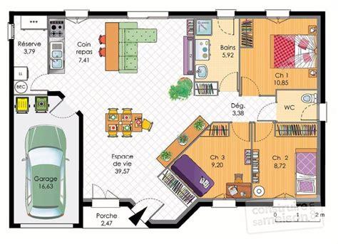 plan de maison 4 chambres plain pied gratuit great maison plainpied dtail du plan de maison plainpied
