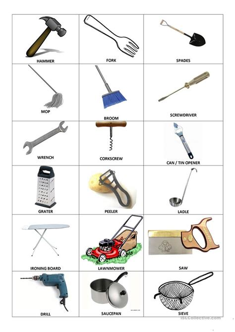 household objects  inventions worksheet  esl
