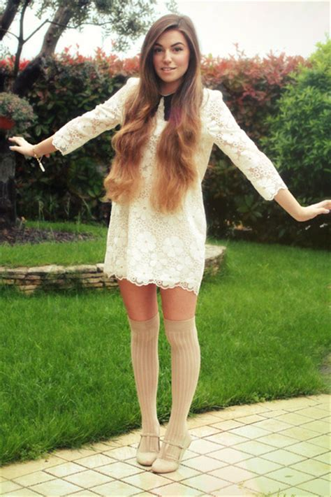 beige over the knee asos socks white collared storets dresses like a bird by cutiepiemarzia