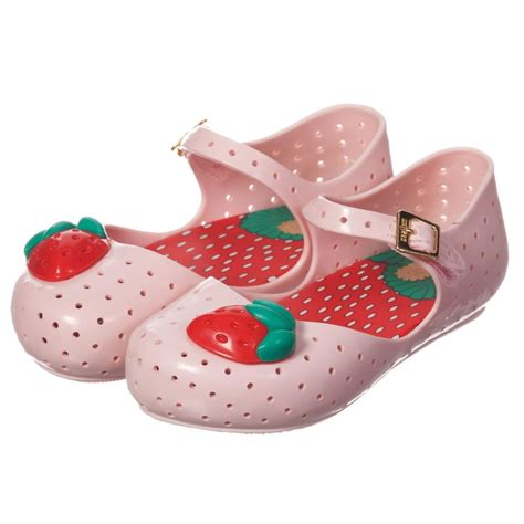 mini melissa pale pink jelly shoes  strawberry