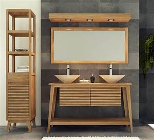 achat meuble de salle de bain taneti walk meuble en teck With meuble en teck pour salle de bain