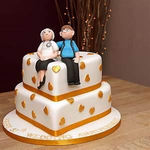 Golden Wedding Anniversary Cake - 2 tiers with handmade