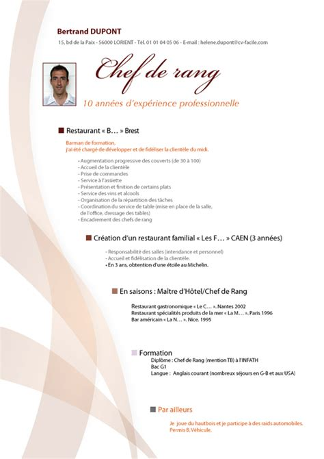 emploi cuisine suisse exemple de cv chef cuisinier