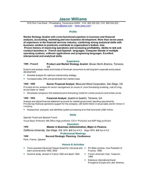 Exles Of Resume Templates by Sle Resume 85 Free Sle Resumes By Easyjob Sle Resume Templates Easyjob