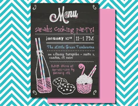Cooking Party Invitation, Kids Baking Party, Children's Cooking Birthday Party, Chalkboard Wedding Candy Card Favors Box Photography Latest Trends Table Containers Lehenga Amazon For Summer 2019 Gowns