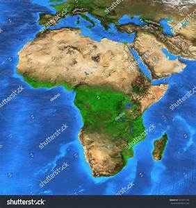 Detailed Satellite View Earth Landforms Africa Stock ...
