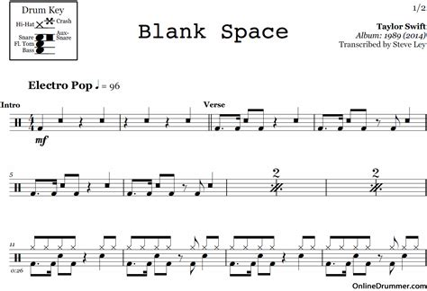 blank space taylor swift drum sheet
