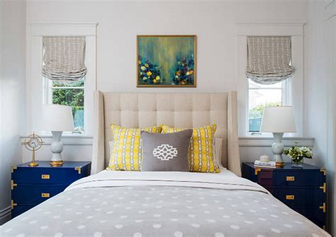 bedroom color inspiration traditional coastal home with classic white kitchen home 10330 | Bedroom color palette inspiration. Pale grey bedroom with navy and yellow accents. Pale grey bedroom with navy and yellow color palette. Bedroom color palette