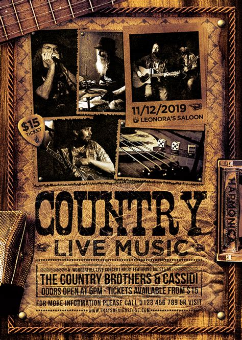 country poster template country live flyer template v3 thats design store