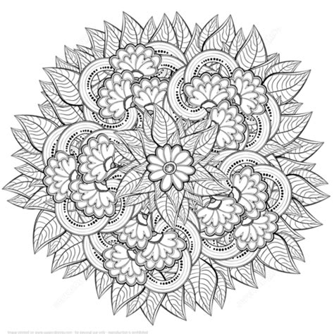 abstract flowers zentangle coloring page  printable coloring pages