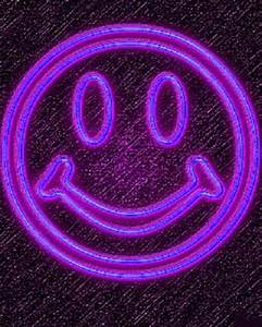 purple neon smiley face