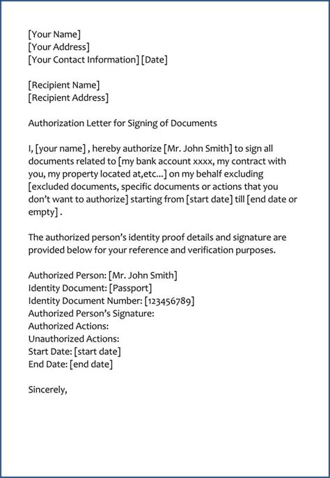 authorization letter  sign documents  behalf samples