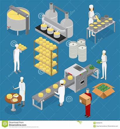 Factory Production Line Vector Cheese Process Illustration