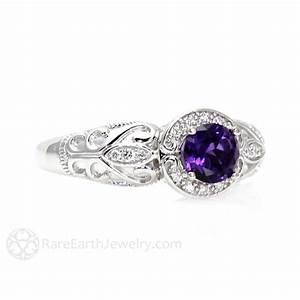 Vintage Amethyst Ring Amethyst Engagement Ring Diamond Halo