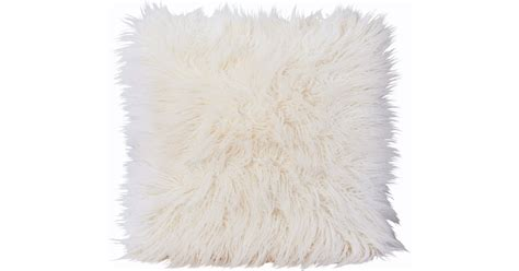 winter home curly white faux fur cushion interismo
