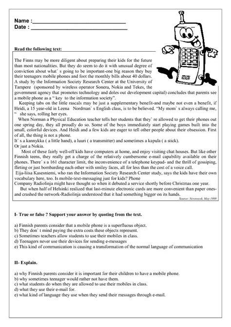 mobile phones reading comprehension worksheet reading