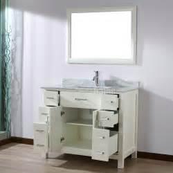 studio bathe 42 inch white finish bathroom vanity solid hardwood construction four