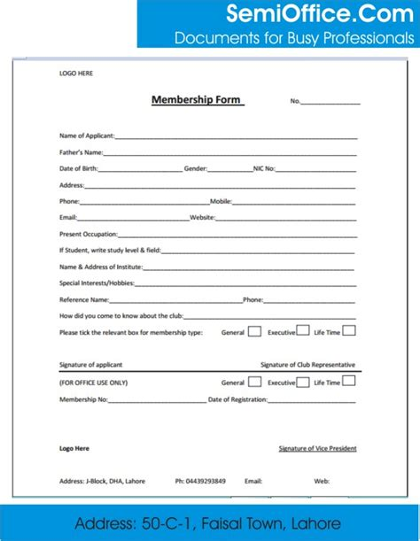 Excel Form Templates Membership Form Template Word And Excel