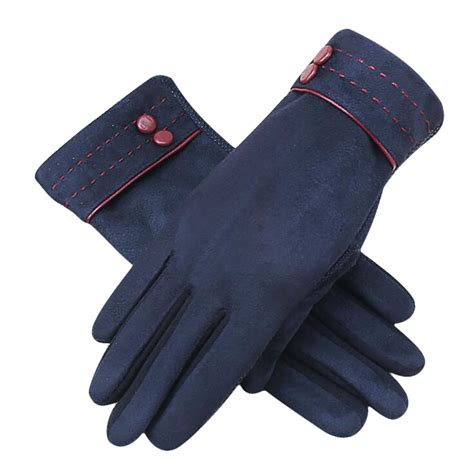womens screen touch suede leather fleece lined gloves