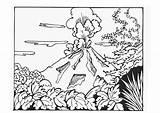 Volcano Coloring Printable sketch template