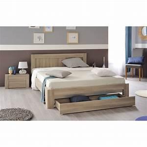Lit double bois massif avec rangement mzaolcom for Chambre a coucher adulte avec matelas thiriez prix