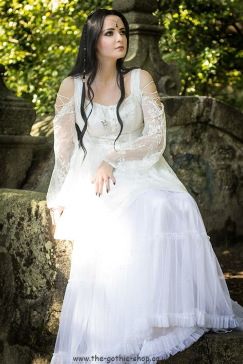 Ghost White Lace Gothic Fishtail Dress by Dark in Love
