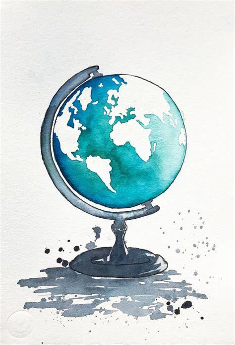 Drawn Globe Illustration  Pencil And In Color Drawn Globe