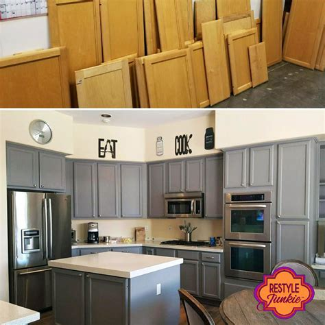 Red And Grey Kitchen Ideas - custom mixed gray kitchen cabinets general finishes design center