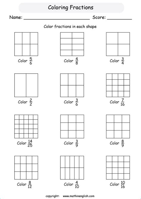 coloring fractions worksheet coloring shapes fractions