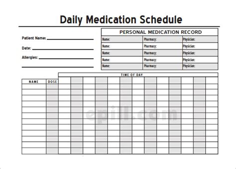 medication schedule template   word excel