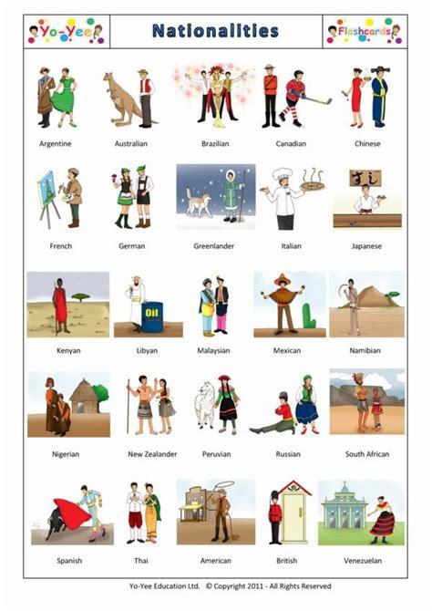 nationalities flashcards  children nationalites
