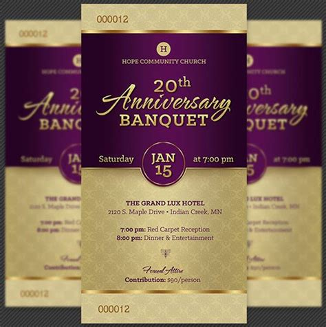 church anniversary banquet ticket template inspiks