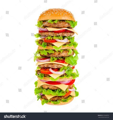 fast cuisine big mac big beautiful burger vegetables stock photo