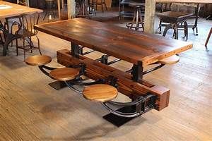 Industrial, Dining, Table, Set, With, Burnt, Top, U0026, Attached, Swing, Out, Seats
