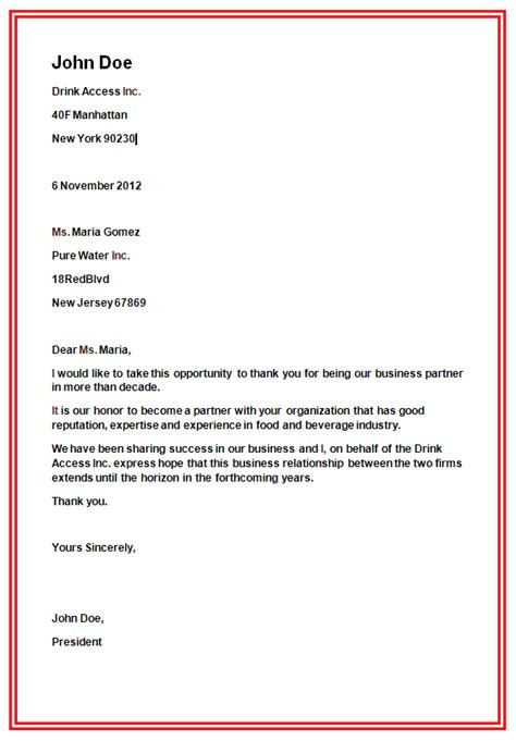 business letter format slim image