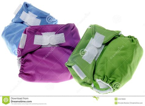 Cloth Diapers In Green Purple And Blue Stock Photos