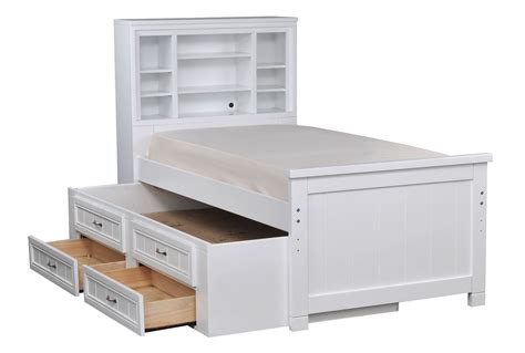 Kendall White Full Bookcase Bed W/2- Drawer Captains Trundle Bottom Navigation Drawer Android Beech Drawers Argos Workbench Construction Multi On Wheels Kendo Ui Demo Small Wooden Desktop Kitchen Side Rails Mini Dresser