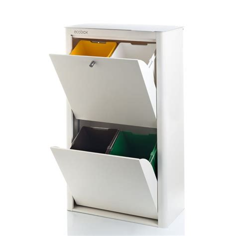 Pattumiera A 4 Scomparti Per Raccolta Differenziata, Serie Cubek