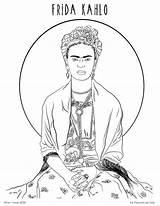 Coloring Kahlo Printable Frida Self Portrait Colouring Hazel Fox Sheets Draw Portraits Colors sketch template