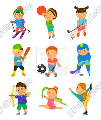cartoon sport kids vector image  people  kannaa